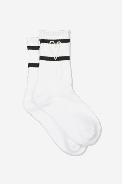 Sporty Stripe Crew Sock, WHITE/LOVE HEART STRIPE