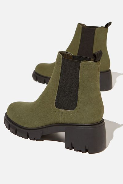 Kaia Combat Gusset Boot, KHAKI SUEDE PU