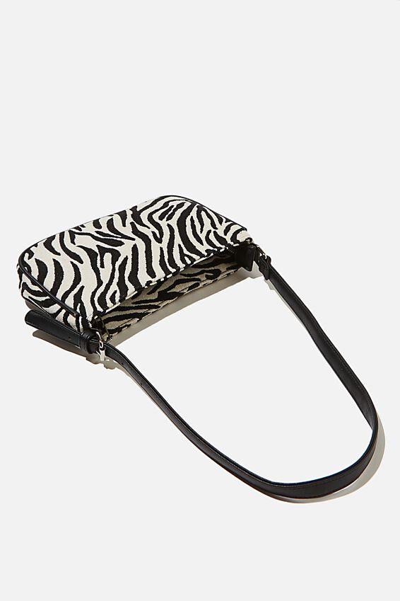 Lexi Underarm Bag, BLACK/WHITE STRIPE