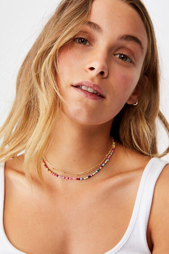 Holiday Beaded 3Pk Necklace Set, RAINBOW