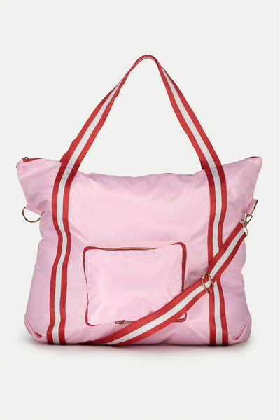 Urban Foldable Tote, PINK/RED