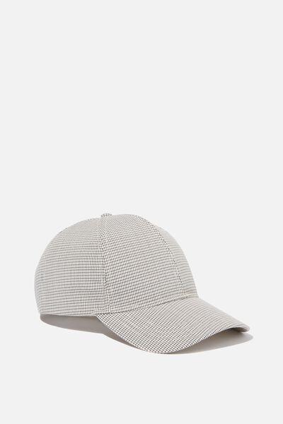 Selina Structured Cap, BLACK/WHITE MICRO CHECK
