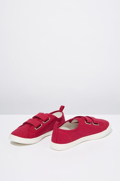 Isabelle Double Strap Plimsoll, HYPER PINK CANVAS