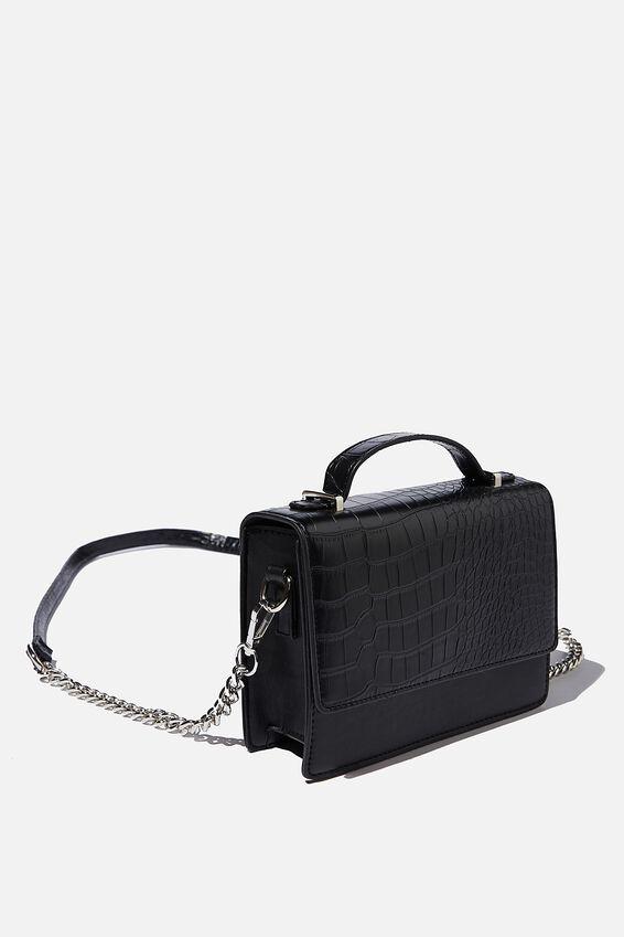 Aria Chain Strap Cross Body Bag, BLACK TEXTURE