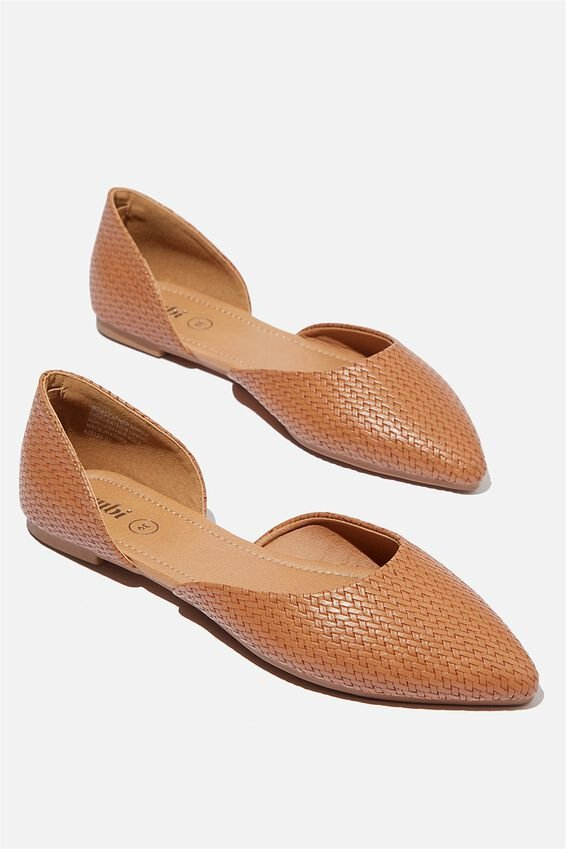Essential Bonnie Cut Out Point, TAN WOVEN EMBOSS PU