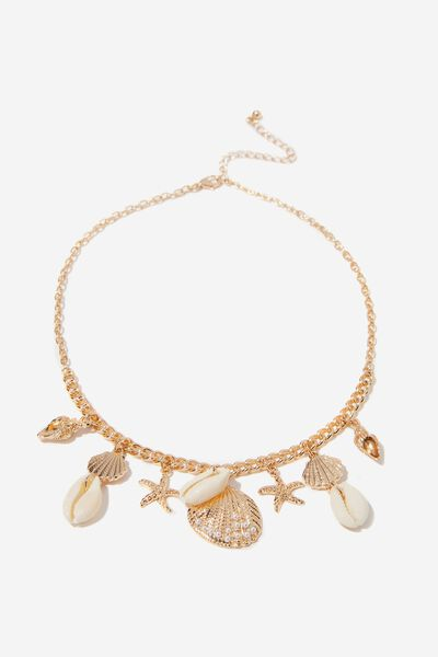 Lucky Charms Necklace, NATURAL/GOLD