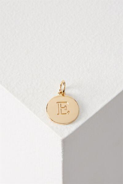 Letter Flat Pendant Charm, GOLD - E