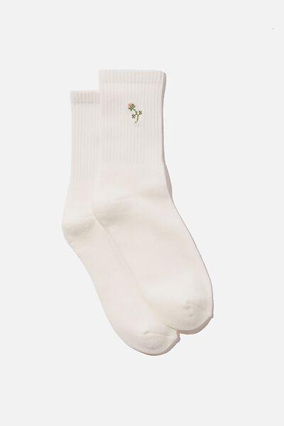 Club House Crew Sock, WHITE FLOWER BUD