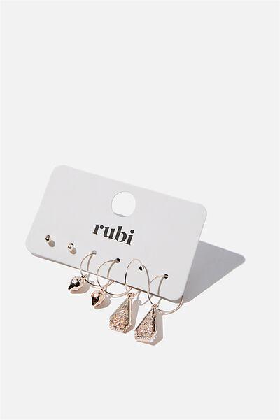 Freedom Trinket 3Pk Earrings, ROSE GOLD