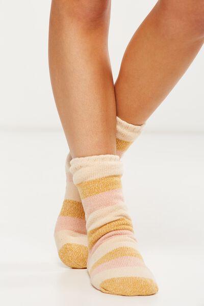 Loungin Round Sock, MULTI COLOUR BLOCK