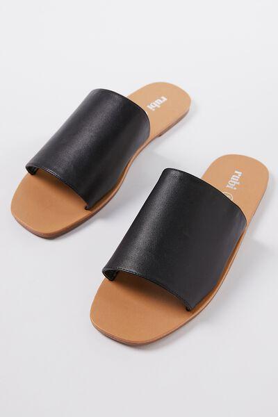 Cleo Minimal Slide, BLACK PU
