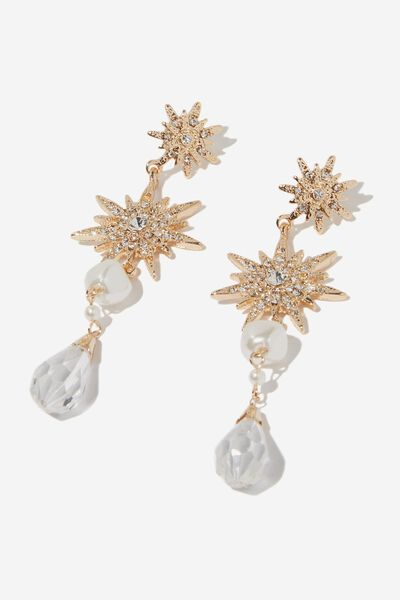 Sparkle Celestial Drop Earring, GOLD/PEARL/DIA