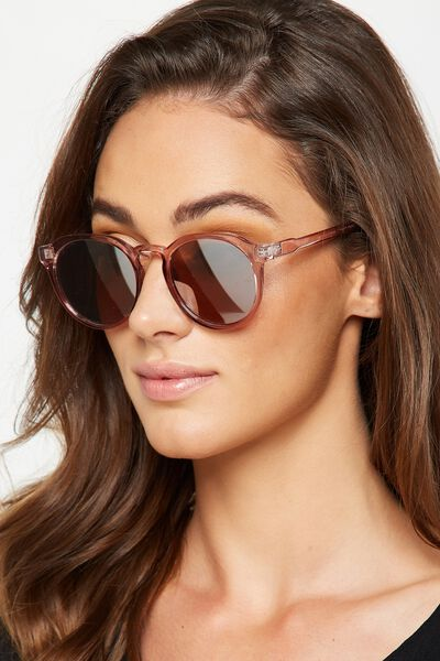 Emerson Preppy Sunglasses, ADOBE ROSE/SILVER