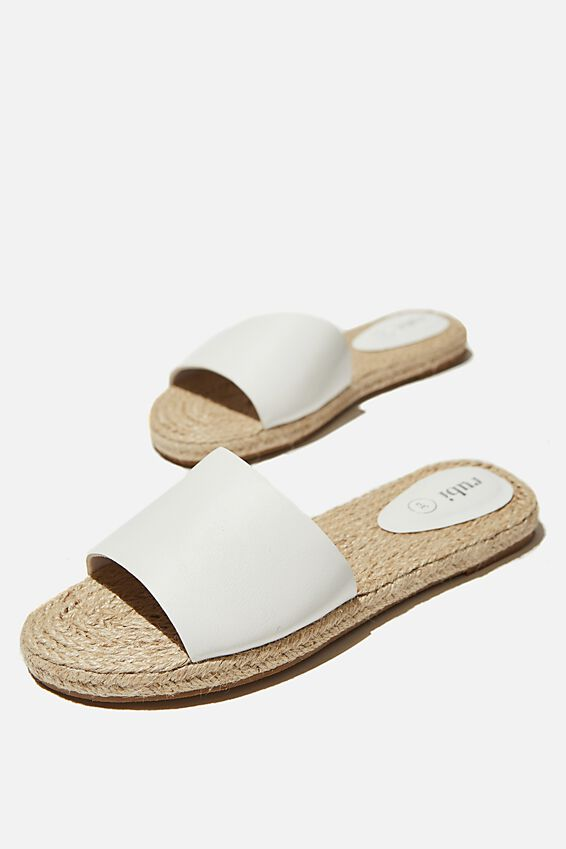 Iggy Espadrille Slide, WHITE SMOOTH PU