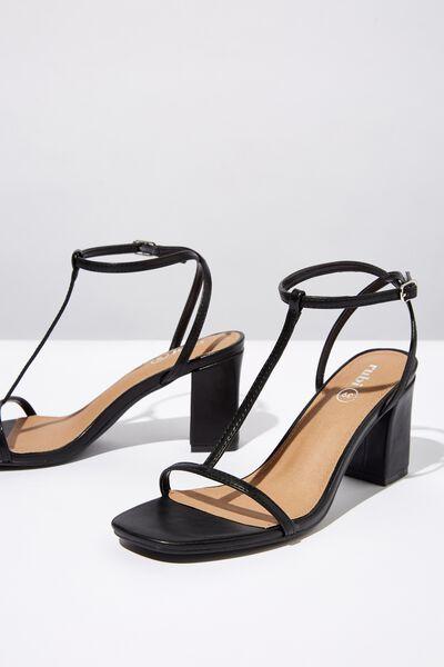 Mila Double Strap Heel, BLACK SMOOTH