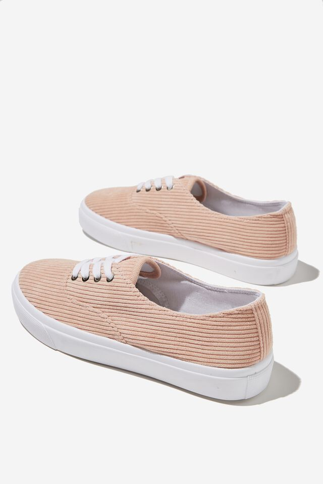 Jamie Lace Up Plimsoll, BLUSH CORD