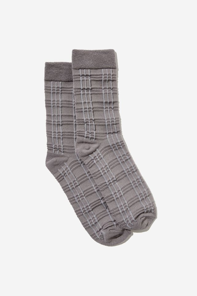 Check Textured Sock, CHARCOAL