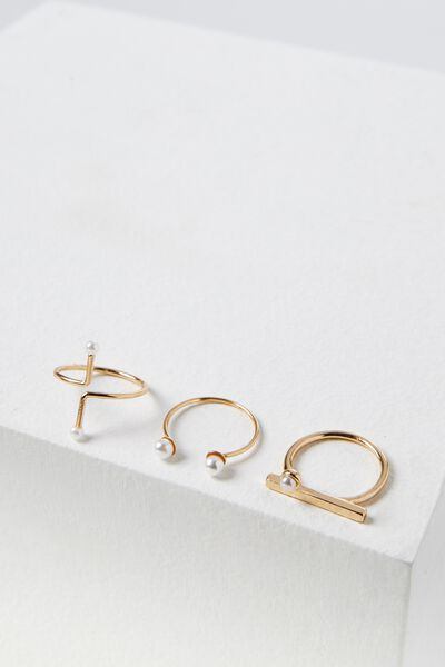 Pearly Ring Set, GOLD