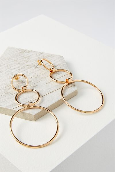 Three Hoop Drop Statement Earring, GOLD
