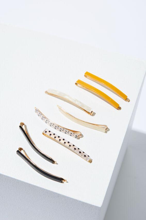 8Pk Mini Hair Slide, BLACK/MUSTARD/WHITE/WHITE POLKA DOT