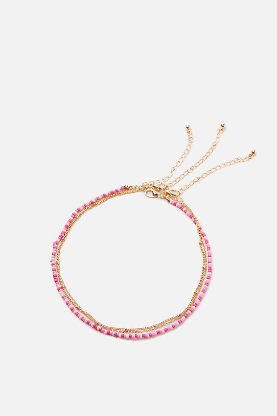 Holiday Beaded 3Pk Necklace Set, LILAC