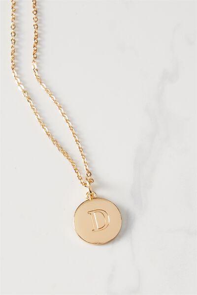 Letter Flat Pendant Necklace, GOLD - D