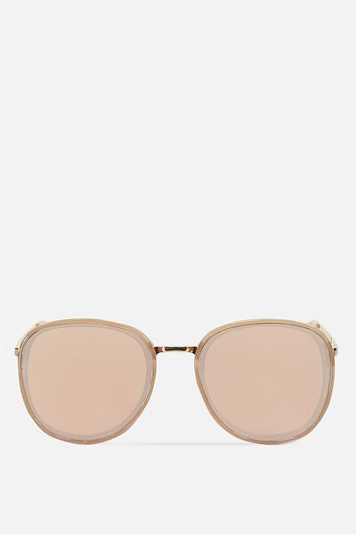 Kinsley Round Sunglasses, MILKY ROEBUCK