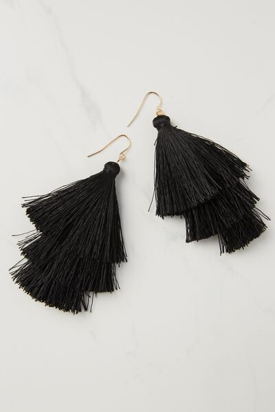 Tri Step Tassel Earring, BLACK
