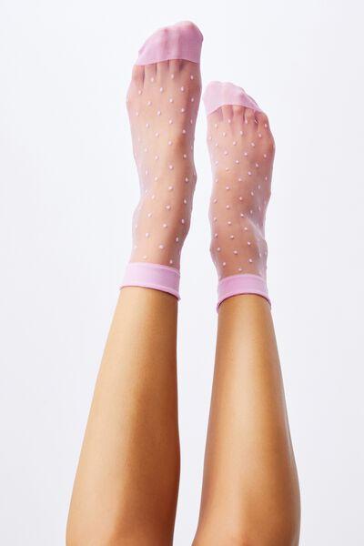 Spot Sheer Sock, LILAC