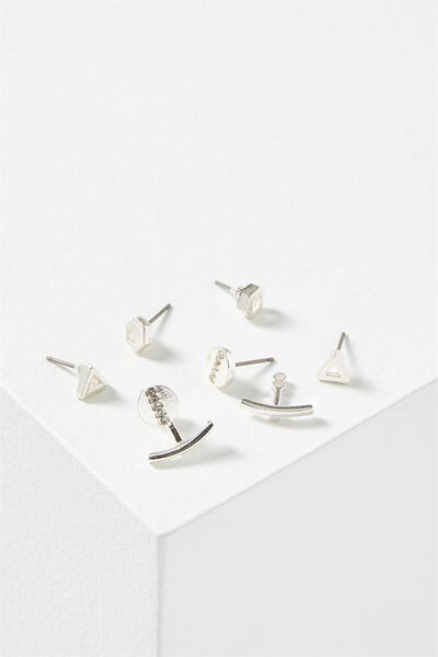 Cassandra Triangle Core Stud Pack, SILVER