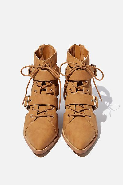 Ariana Buckle Boot, TAN NUBUCK PU
