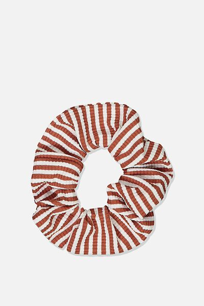 So Me Scrunchie, RUST RIB STRIPE JERSEY