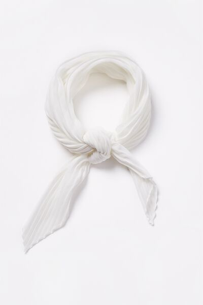 Soho Broadway Pleat Scarf, WHITE SELF STRIPE
