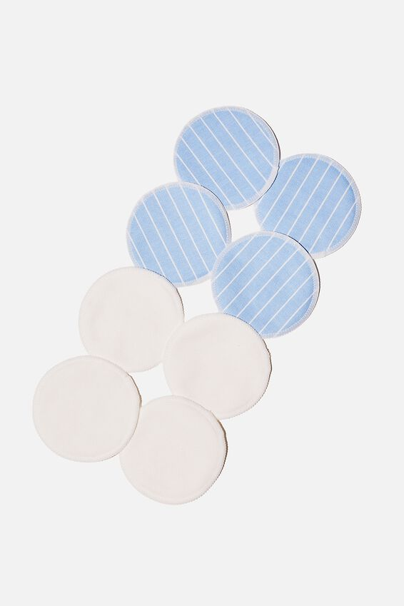 Reusable Cleansing Pads 8Pk, LEILA STRIPE/AUTHENTIC BLUE