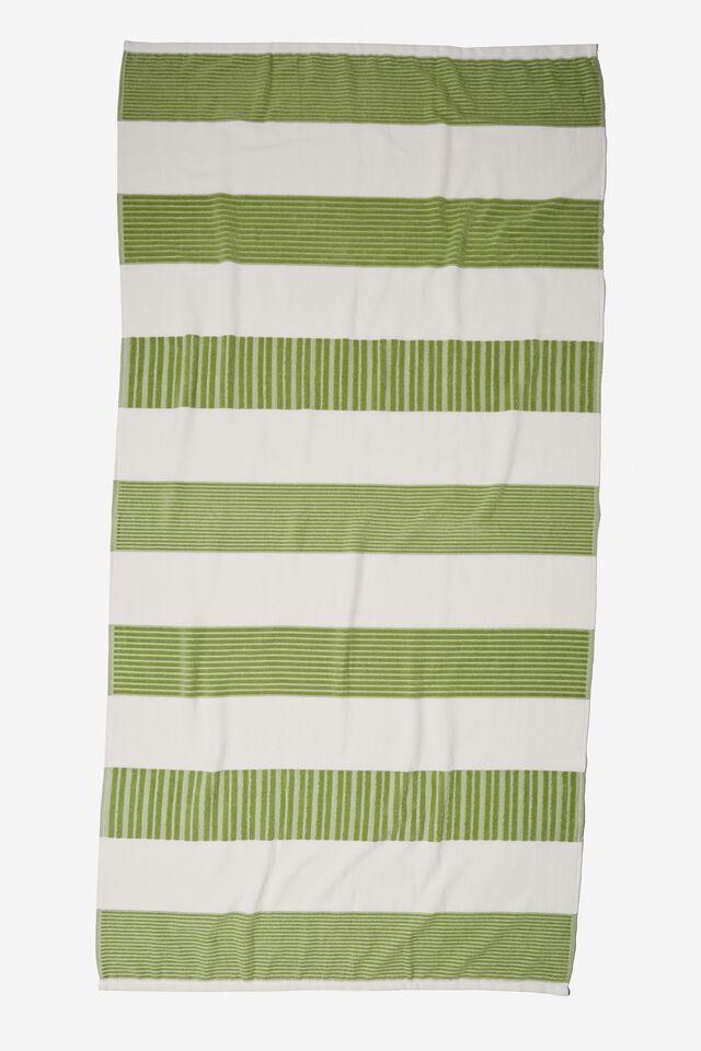 Bondi Rectangle Towel, SAGE HORIZONTAL STRIPE