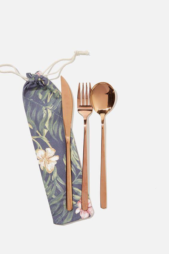 Reusable Cutlery Set, NAVY TROPICAL/ROSE GOLD