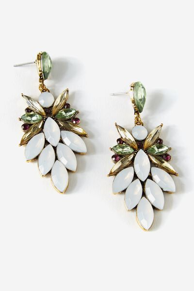 Drop Jewel Earring, BALSAM GREEN