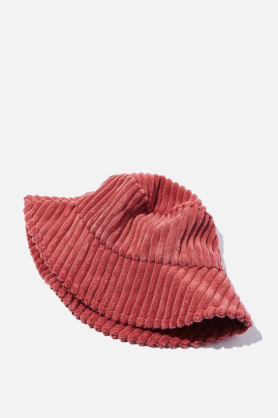 Bianca Bucket Hat, EARTHY RED WIDE CORD