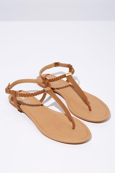 Everyday Braided Toe Post Sandal, CAMEL PU