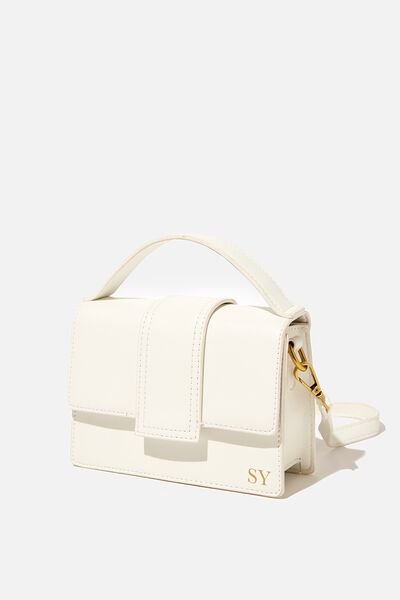 Personalised Cindy Cross Body Bag, WHITE