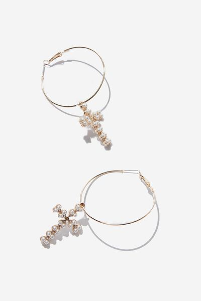 Mia Baroque Earring, GOLD/PEARL