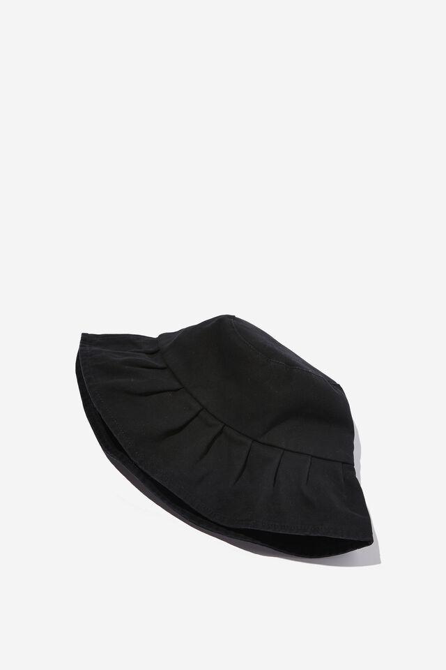Gabby Gathered Brim Bucket Hat, BLACK
