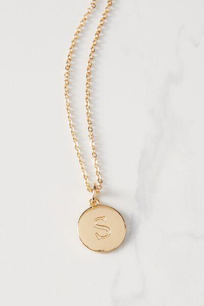 Letter Flat Pendant Necklace, GOLD - S