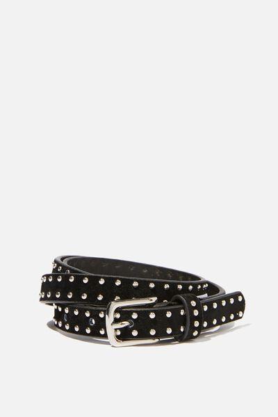 Mini Studded Belt, BLACK W SILVER
