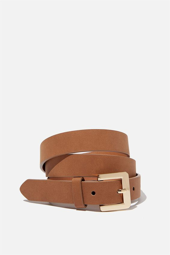 Square Buckle Belt, TAN / GOLD