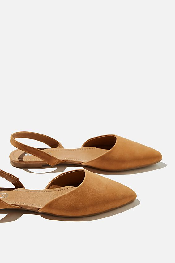 Essential Caitlin Pointed Sling Back, TAN NUBUCK