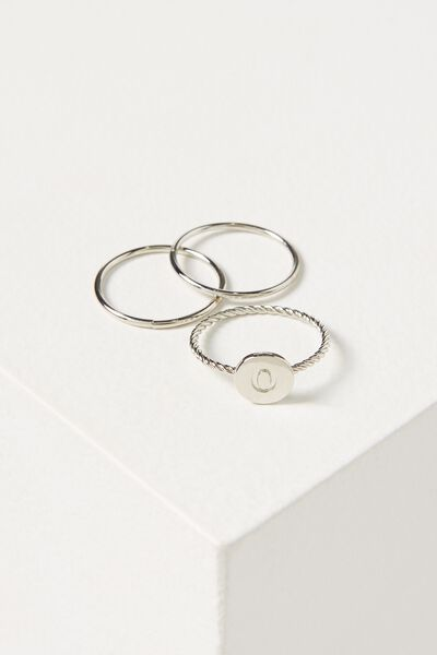 Letter Pendant Ring, SILVER - O
