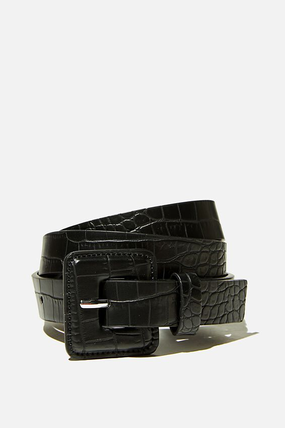 So Square Buckle Belt, BLACK TEXTURE