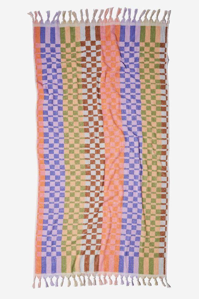 Bondi Rectangle Towel, LAVENDER DIANA CHECKERBOARD