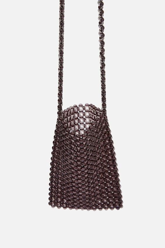 Beaded Cross Body Bag, BLACK
